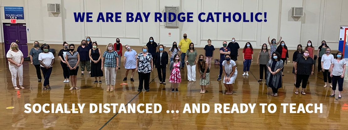 Bay Ridge Catholic teachers masks and social distancing in gym